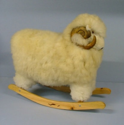 large white rocking ram